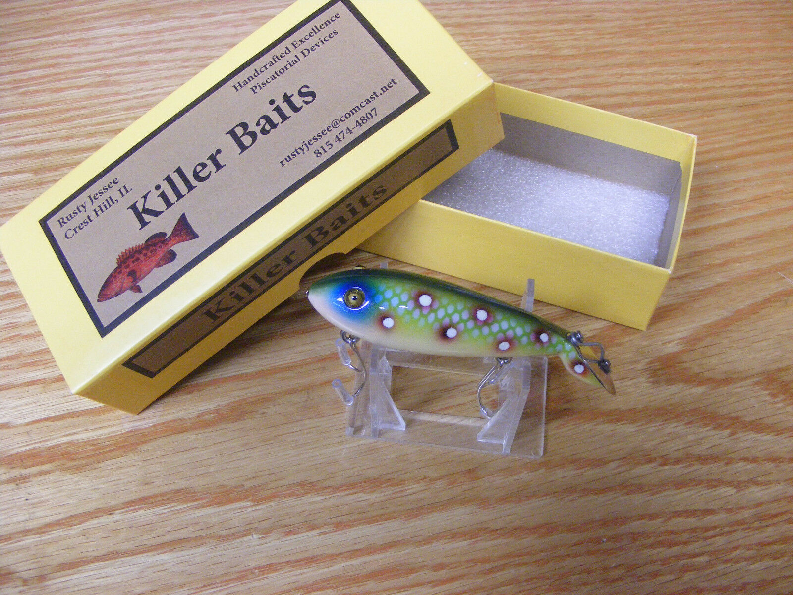 Killer Baits Rusty Jessee Heddon Style Glasseye Tadpolly in Amazon Frog WS color