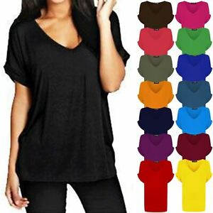 cbe77b62 Ladies Womens Baggy V Neck Turn Up Sleeve Oversize Loose Fit Batwing ...