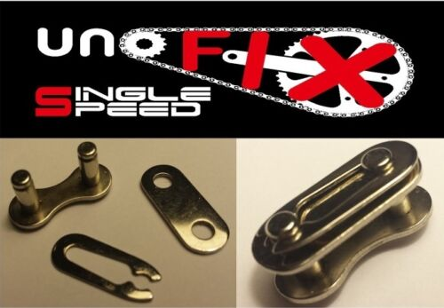 """Unofix 1//2/"""" x 1//8/"""" chrome master Connecting link chain single speed fixie bmx"""