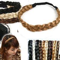 New Lady Girl Synthetic Hair Plaited Plait Elastic Headband Hairband 0.9-1.5cm