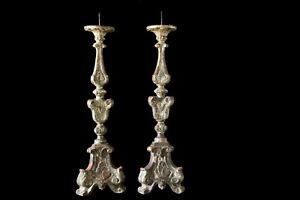 Paire-de-candelabres-flambeaux-en-bois-argente-XVIIIe-candlesticks-silver-wood