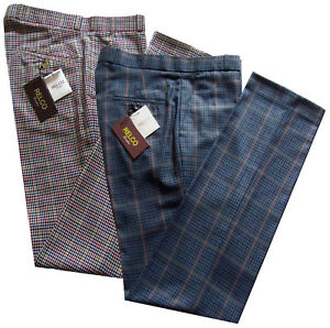 Men-039-s-Tweed-Sta-Stampa-Pantaloni-Beige-Blu-STAY-PRESSATO-Golf-Pantaloni-Relco