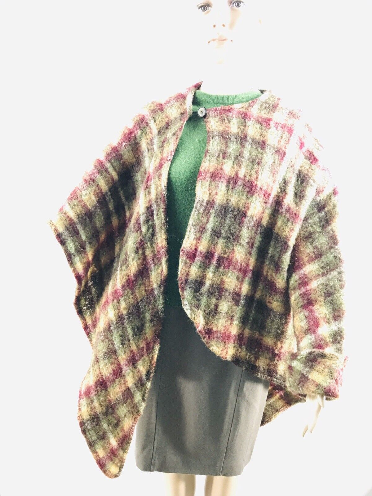 Women's Handmade Plaid Single Sleeve Cape Poncho Yellow Green Maroon OS UNIQUE