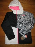 The North Face Girls Casie Black Pink Print Insulated Jacket Coat S 7 8 L 14 16