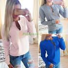 Lady Women Long Sleeve Zip Sweater Shirt Winter Jumper Pullover Hoodie Tops
