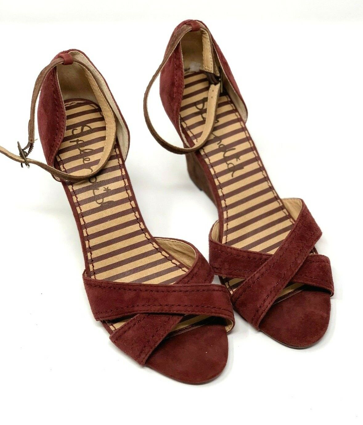 New Womens Splendid Leather Suede Burgundy Brown Wedge Sandals Size 8M