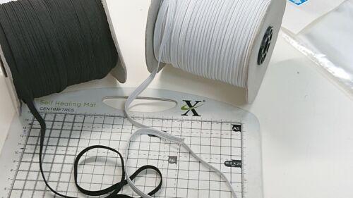 Approx 7mm-width 1m.ELASTIC WaistBand for Trouser,Dress,underwear BLACK//WHITE