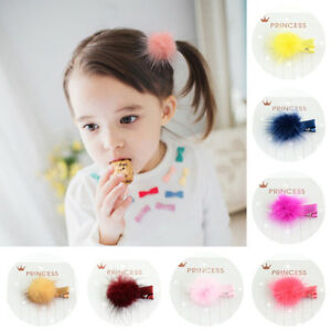 12-Pcs-Baby-Girls-Kids-Korean-Fur-Ball-Pompom-Hair-Clip-Pin-Headwear-Hairpins