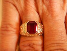 Men's Ring Emerald-Cut Bezel Set Simulated Ruby 10x8 mm Size 12