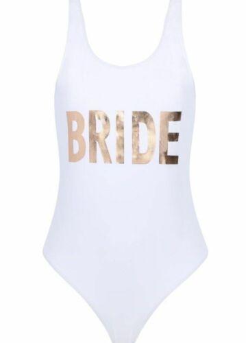 Primark Ladies BRIDE TRIBE Swimsuit Swimming Costume Hen Party Bridal Swimwear