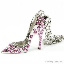 Silver Bling High Heel Shoe Rear View Mirror Car Charm Ornament Pink Rhinestones