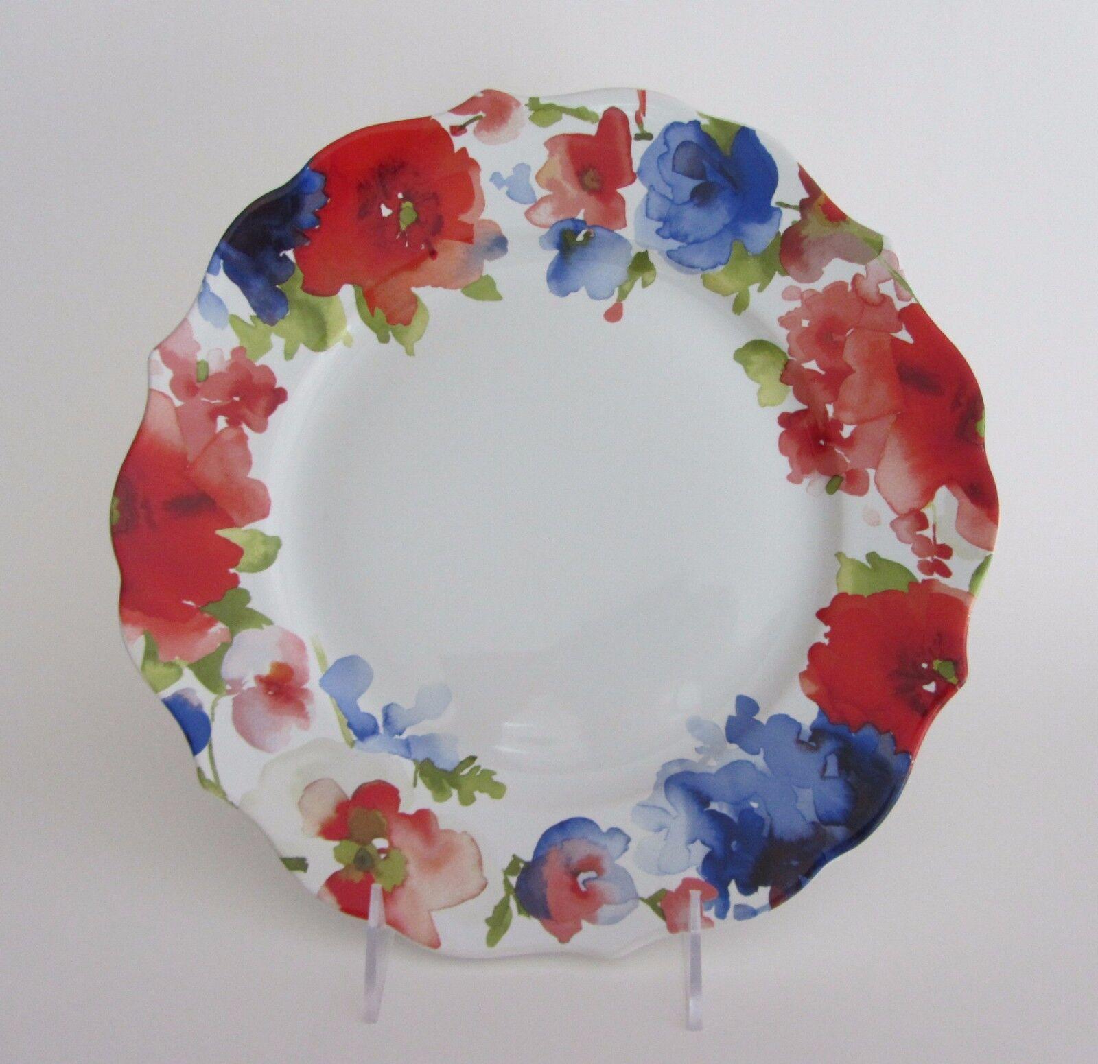 222 Fifth Claudette DINNER PLATES 10 3 4  SET- 5 Water Couleur Flowers Porcelain
