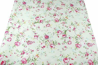 ~[yd] Vintage Style Pink Rose on Cream Yellow 100% Cotton Fabric ~ Free Shipping