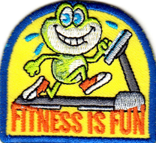 """/""""FITNESS IS FUN/"""" Iron On Patch Gymnastics Exercise Sport Workout Scouts Boy Girl"""