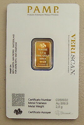 Pamp Suisse 2.5 Gram 24K .9999 Pure Gold Bullion Art Bar