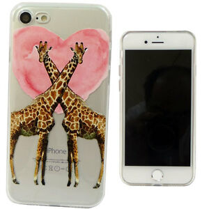 Pellicola-Custodia-GIRAFFE-IN-LOVE-cuore-per-iPhone-7-4-7-034-cover-TPU-flessibile