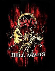 SLAYER-cd-cvr-HELL-AWAITS-BLOOD-Official-Black-SHIRT-Size-MED-new