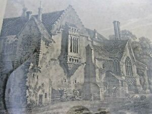 Old-antique-print-engraving-of-Castle-Acre-priory-Norfolk