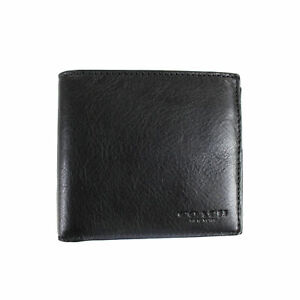 2bfa17bd Coach Men Black Billfold Double Fold Bifold Leather Wallet 75084 F75084
