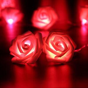 2-5M-Rosenbluetenkette-mit-20-LED-Rot-Lichterkette-Blumen