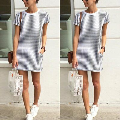 Fashion Summer Women Short Sleeve Evening Party Cocktail Dress Casual Mini Dress