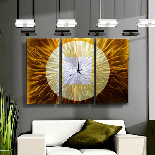 Fine Metal Hand-Painted Modern Abstract Wall Clock - Golden Paradigm - Jon Allen