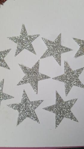 20 Hotfix iron on transfers silver glitter stars size 3.5cm halloween//costumes