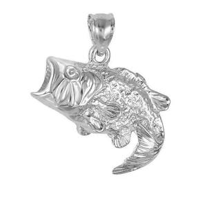Sterling silver bass fish pendant charm made in usa ebay for Silver bass fish