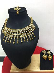 Indian-Designer-Bollywood-Ethnic-CZ-Gold-Plated-Fashion-Jewelry-Necklace-Set