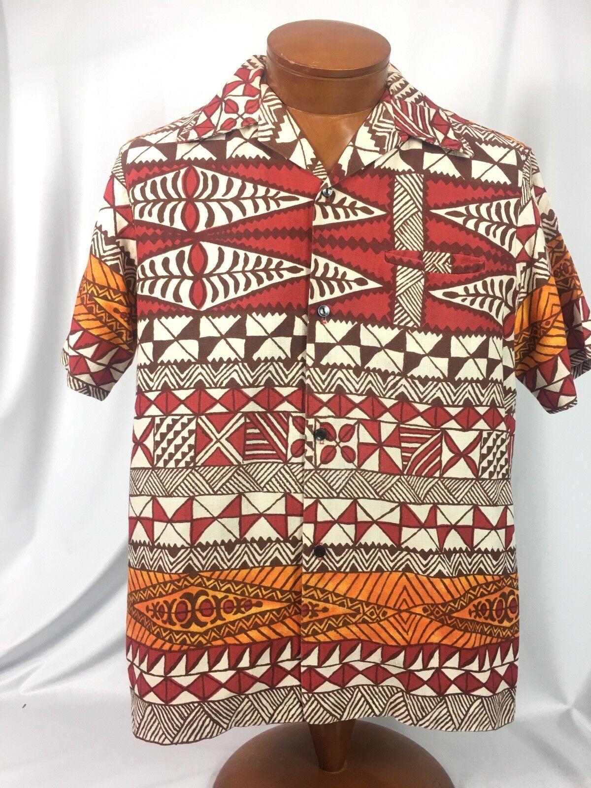 Diamond Head  LOUD 70's Vintage Brown Red orange Hawaiian Shirt M MINT  USA