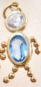 Vintage 14K Yellow Gold March Birthstone Baby Boy Charm Brat Blue CZ Pendant