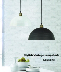 Vintage-Retro-Metal-Lamp-Shade-Ceiling-Pendant-Light-Lampshade-Black-and-Gray