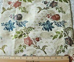 Rare-Stunning-French-Antique-18thC-Silk-Rose-Brocade-Fabric-L-39-034-X-W-13-034