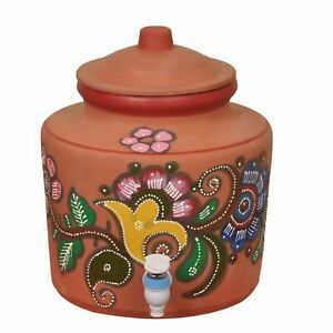 Indian traditional Brown Clay Water Pot multicolour