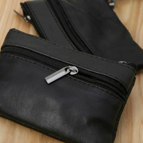 Unisex Black Mini Card Coin Key Holder Zip Leather Wallet Pouch Change Purse