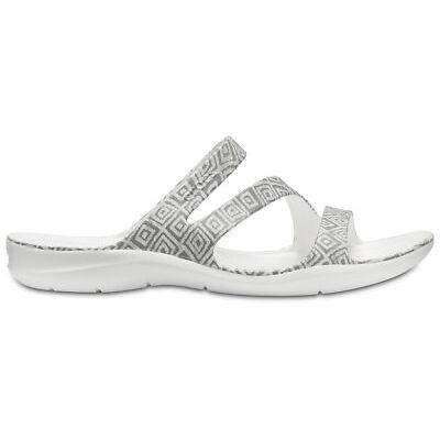 NEW Genuine Crocs Women Swiftwater Graphic Sandal Grey Diamond/White