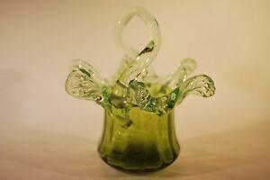 Victorian Green Glass Basket Vase with a Green Uranium Glass Frill       6007 - Beaworthy, Devon, United Kingdom - Victorian Green Glass Basket Vase with a Green Uranium Glass Frill       6007 - Beaworthy, Devon, United Kingdom