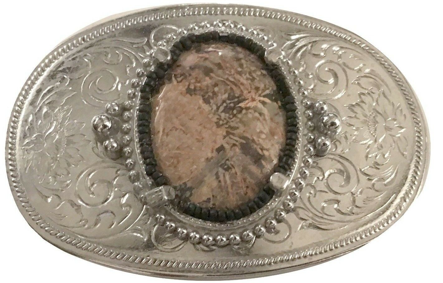 Vtg Polished Stone Belt Buckle Agate Brown Gem Western Women's Gold Yellow 70s