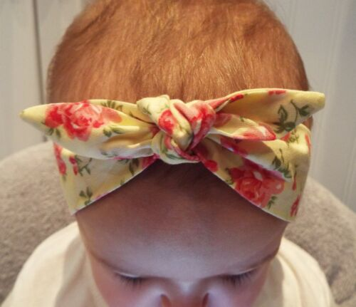 YELLOW WITH PINK ROSES HEADWRAP WRAP HEADBAND KNOT BOW BABY TODDLER GIRLS NEW