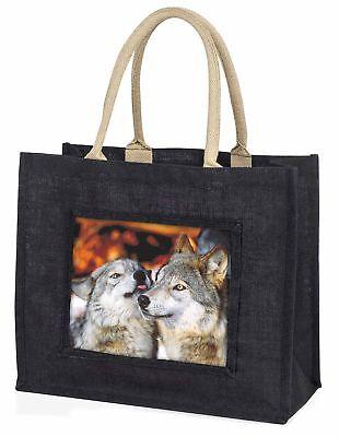 Verliebte Wölfe große schwarze Einkaufstasche Weihnachten Geschenkidee, aw-9blb