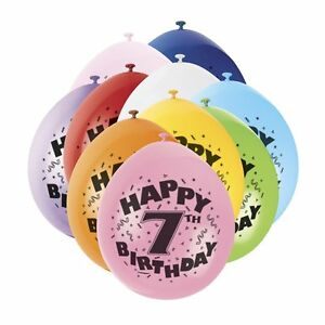 7TH-BIRTHDAY-BALLOONS-10-BALLOONS-AGE-7-Children-039-s-Party-decorations-BOY-GIRL