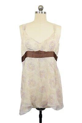 Gap Blouse Size 14 Silk Ivory Lavender Floral Satin Empire Waist Asymmetrical