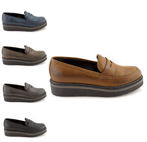 Image is loading Loafers-woman-college-Black-Blue-Leather-Shoes-Loafer- bdf65f77b9e