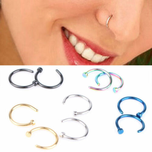 10Pcs Nose Ring Open Hoop Lip Body Piercing Studs Stainless Steel Jewelry Gift