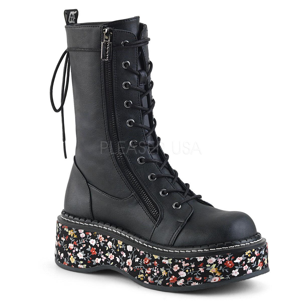 Demonia Vegano Negro Negro Negro 2  plataforma 10 Ojo Floral Suela botas De Becerro Razor Punk 6-12  El ultimo 2018