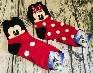 2x-Mickey-Mouse-Minnie-Socks-Cute-Crew-Girl-Gift-22-26-cm-Soft-Made-Korea-Disney