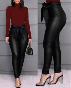 Pantalones De Tiro Alto Para Mujer Cintura Alta Levanta Cola Elegantes Pantalon Ebay