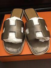 Hermes Oran Metallic Bronze Leather Slides Sandals Size 37, US 7 RECEIPT!