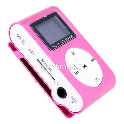 Music Player Reproductor Mini MP3 LCD con Enganche Clip Rosa a411 nt