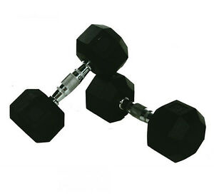 10KG-PAIR-OF-COMMERCIAL-RUBBER-HEX-DUMBBELLS-CHROME-HANDLE-FIXED-WEIGHT-GYM
